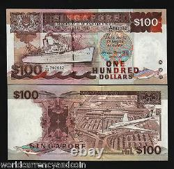 Singapore 100 Dollars P23 1995 Ship Fish Air Plane Unc Currency Money Bill Note