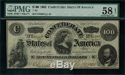 T-49 $100 1862 Confederate Currency CSA Graded PMG 58 EPQ Choice About Unc
