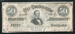 T-66 1864 $50 Fifty Dollars Csa Confederate States Of America Currency Note Unc