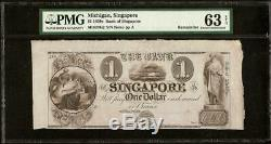 UNC 1830s $1 DOLLAR BANK OF SINGAPORE NOTE LARGE CURRENCY PAPER MONEY PMG 63 EPQ