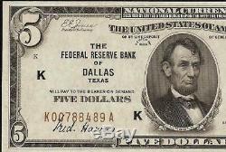 UNC 1929 $5 DOLLAR BILL FRBN DALLAS FED BANK NOTE CURRENCY Fr 1850-K PCGS 64 PPQ