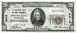 Unc 1929 T1 $20 National Currency Natl. Bank & Trust Co. Spring City Pa. Ch#2018