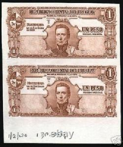 Uruguay 1 Peso P-35 1939 Rare Uncut Unc Proof Ship Cow Latino Currency Bank Note