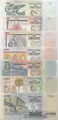 Uruguay 20 2000 Pesos 7 Piece Banknotes Set 2014-15 UNC Currency