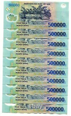 VIETNAM 5 MILLION DONG CURRENCY= 10 x 500,000 500000 Banknote About UNC