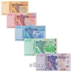 W Africa Mali 5 PCS Banknotes Collect 500-10000 France MLI Real Currency UNC