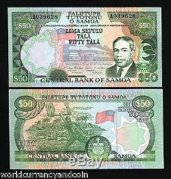 Western Samoa 50 Tala P29 1990 King Flag Unc Rare A Prefix Currency Bill Note