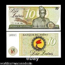 Zaire Congo Dr. 10 Zaires P27a Leopard Mobutu Unc Torch Currency Bill 40 Notes