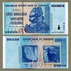Zimbabwe 100 Trillion Dollars 2008 & 1 Dollar 2007 P91 P65 UNC currency bills