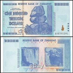 Zimbabwe 100 Trillion Dollars, AA /2008 Series, UNC, Banknote Currency