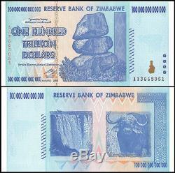 Zimbabwe 100 Trillion Dollars Banknote Currency UNC AA+ 2008 P-91