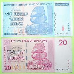 Zimbabwe 100 Trillion Dollars Currency 2008 Aa Unc + Free $20 Banknote