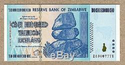 Zimbabwe 100 Trillion Dollars replacement banknote ZA 2008 P91 UNC currency bill