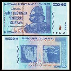 Zimbabwe 100 Trillion Dollars x 5 pcs AA 2008 P91 consecutive UNC currency notes