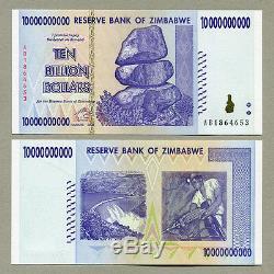 Zimbabwe 10 Billion Dollars x 25 pcs 2008 P85 consecutive UNC currency bills