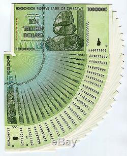 Zimbabwe 10 Trillion Dollars x 25 pcs AA 2008 P88 consecutive UNC currency bills