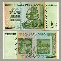 Zimbabwe 20 Billion Dollars x 10 pcs AA 2008 P86 consecutive UNC currency bills