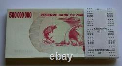 Zimbabwe 500 Million Dollars AC 2008 P60 Full Bundle UNC Currency