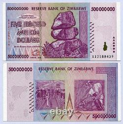 Zimbabwe 500 Million Dollars x 10 notes AA/AB serial 2008 P82 UNC currency bills