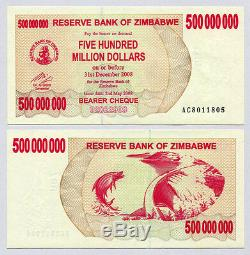 Zimbabwe 500 Million Dollars x 50 pcs AC 2008 P60 1/2 bundle UNC currency bills