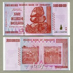 Zimbabwe 5 Billion Dollars x 10 pcs AB 2008 P84 consecutive UNC currency bills