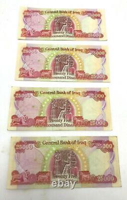 100.000 Dinars Irakiens Monnaie 4 X 25.000 Iqd Unc Iraq Dinar Billets De Banque Distribués