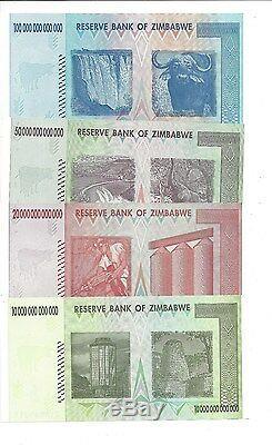 100 50 20 Et 10 Trillions De Zimbabwe Za Dollar Remplacement Monnaie Monétaire. Unc