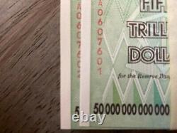 100 Billets De 50 Billions De Dollars Zimbabwe Banknote Aa Gem Unc Note Currency 2008