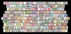 100 Pays 100 Pcs De Différents Billets Étrangers Du Monde Devise Unc + Liste
