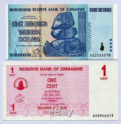 100 Trillions De Dollars Du Zimbabwe Et 1 Centime De Chèques Au Porteur P91 P33 Unc