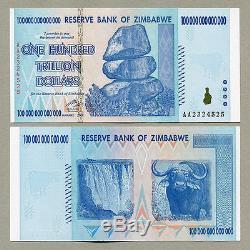 100 Trillions De Dollars Zim Note Dollar 2008 Monnaie Du Zimbabwe 2008 Aa Unc Fast Shippinng