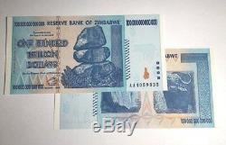 100 Trillions De Dollars Zimbabwe En Argent En Monnaie. Unc. Milliard De Milliards 5 10 20 50