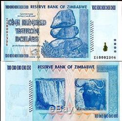 100 Trillions De Zimbabwe Za Dollar Devise De Remplacement. Unc, 10 20 50