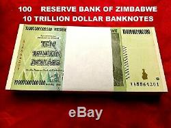 100 X Zimbabwe 10 Trillion Dollar Unc Vente De Billets De Banque Aa 2008 100 Trl Ser