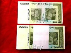 100 X Zimbabwe 10 Trillions De Dollars Unc Billets De Banque Aa 2008 100 Trillions Sr