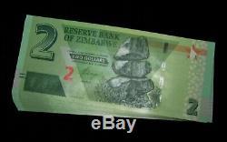 100 X Zimbabwe 2 Dollars 2019 Hybrid P New Unc Banknote / Faisceau De Monnaie