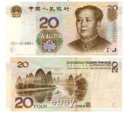 100pcs Chine 20 Yuan Rmb Banknote Currence 1999 Unc Bundle Continu