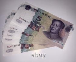 100pcs Chine 5 Yuan Rmb Banknote Currence 1999 Unc Bundle Continu