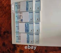 100pcs Zimbabwe 100 Trillion Dollars Banknote Monnaie Unc Bundle 2008