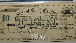 $ 10 1872 Columbia En Caroline Du Sud Sc Bank Obsolète Note Bill! Unc64 Pmg Monnaie