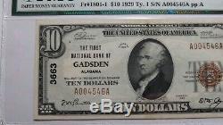 10 $ 1929 Gadsden Alabama Al Monnaie Nationale De Billets De Banque Bill Ch. # 3663 Unc62 Pmg