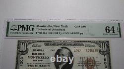 10 $ 1929 Monticello New York Ny Banque De Monnaie Nationale Note Bill #1503 Unc64 Pmg
