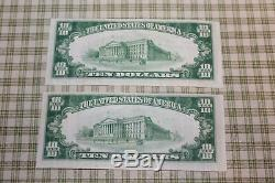 10 $ 1929 Springfield Illinois IL Billets De Banque Nationaux, Billets De Banque # 3548 Set Unc