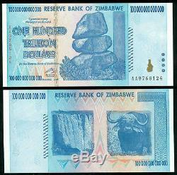 10,20,50,100 Zimbabwe Dollar Billion Argent Monnaie. USA Vendeur Unc