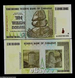 10, 20, 50 Billions De Dollars En Monnaie Zimbabwéenne En Argent. Unc USA Vendeur 100