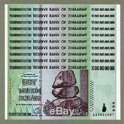 10/50 Milliards De Dollars En Monnaie Zimbabwéenne En Argent. Unc USA Vendeur