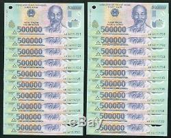 10 Millions De Dong = 20 X 500000 Billets De Billets En Monnaie Du Vietnam Unc Sténopés Ou Rides