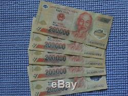 10 Millions De Dong = 50 X 200 000 Billets De Billets En Polymeres Vietnam