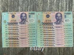 10 Millions Dong = 20 X 500000 500000 Vietnam Polymer Monnaie Billets Unc