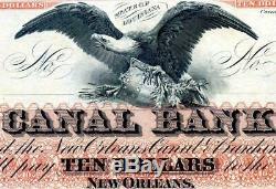 $ 10 Nouveau 1860s Orléans Canal & Co. Banque Obsolète Monnaie Pmg 64 Choix Unc Wow